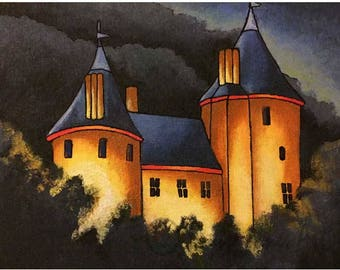 Modern landscape art Print, Wall art gift, welsh castle print, bold bright art print, Castell Coch Wales
