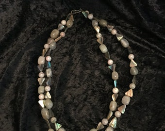 Double stranded Gray abalone stone necklace  26 inch