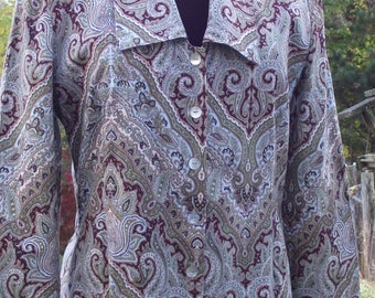Vintage Earth Tone Paisley Print Tunic Abalone Button Front Blazer School Office Work Resort Hipster Boho Cottage Chic Retro Homemade?