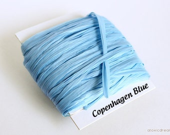 Light Blue Raffia Ribbon - 30/100 yards  - 1/4 inch wide