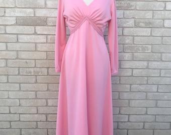 Vintage 70's Pink Long Sleeve V-Neck Maxi Dress