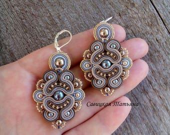 Gray Beige Earrings - Soutache Earrings - Hand Embroidered Soutache Jewelry - Gray Beige Chandelier Earrings