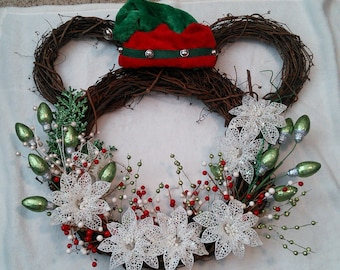 Mickey Mouse Wreath--red, green and white