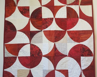 Modern Quilt, Contemporary Quilt, Red Quilt, Baby Quilt, Wall Quilt,