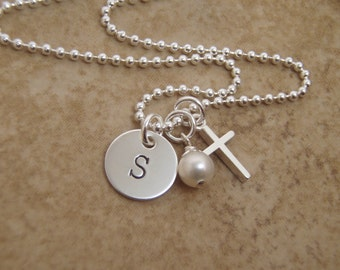 """Dainty Initial and Cross Necklace - Sterling silver necklace - First Communion Gift - Initial disc and cross are 3/8""""- Photo NOT actual size"""