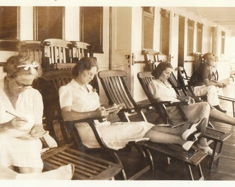 Original Vintage Photograph Snapshot Women Relax on Ship's Deck 1920s-30s