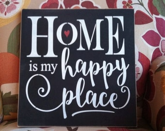 "Wood sign 'Home Is My Happy Place' 12"" x 12"" inspirational wall sign family wall decor welcome wall sign front entry wood sign entryway sign"