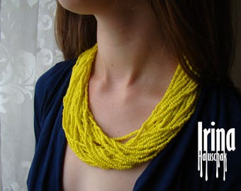 Multistrand beaded necklace. Sanny yellow necklace