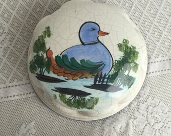 Ceramic Duck Mold / Blue and Green Vintage Kitchen Decor Handpainted by ABC Bassano Made in Italy