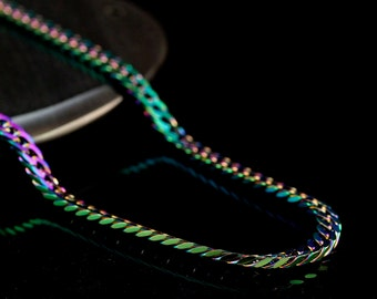 1 - 4mm Rainbow Anodized Stainless Steel Flat Curb Chain - 24 inches