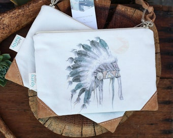 Zipper Pouch -  Wristlet Clutch, Clutch Purse, Boho Clutch, Pencil Case, Leather Purse, Boho Bag, Native American, Bohemian, Boho Purse