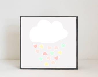 rainbow boho nursery,  cloud hearts, nursery art, baby girl nursery decor, gender neutral baby, baby room art,rainbow nursery, redtilestudio