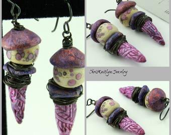 Fuschia Toned Earrings, Rustic Earrings, Rustic Boho Earrings, Bohemian Earrings, Gift for Her Him, ChrisKaitlynJewelry, Lite Earrings, #924
