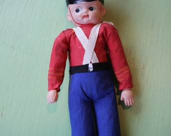 Vintage Celluloid English Soldier Doll, Made in Japan, Red Feather
