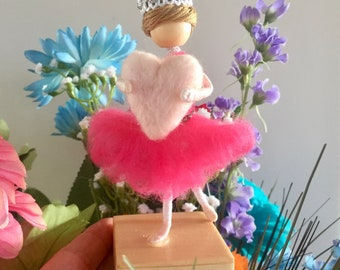 Ballerina is ready for her recital in her beautiful hot pink tutu!