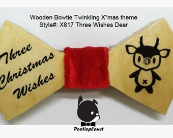 Three Christmas Wishes Poo Deer wooden bowtie
