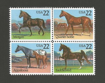 10 Horses Vintage Postage Stamps, 22 Cents, Unused # 2155-2158, 4 Different Designs