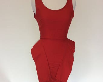 Vintage throwback 80's/90's Red peplum miniskirt dress! Very Beverly Hills 90210! Size 00/0