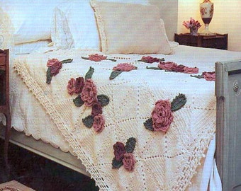 Vintage Crochet Pattern for Roses Afghan Throw Blanket Bedspread  Retro   INSTANT DOWNLOAD PDF