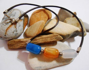 Unisex Agate Brown Leather Necklace Chunky Stone Necklace Casual Summer Fall Jewelry Blue Orange White Jewelry Blue Agate Carnelian Necklace