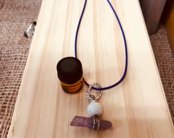 DoTerra Essential Oil Diffuser Lava Bead and Amethyst Crystal Pendant Necklace Handmade