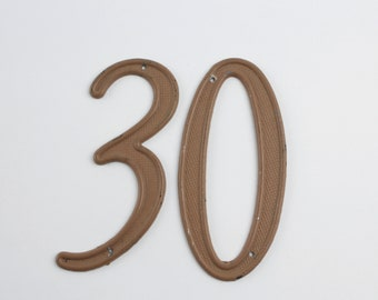 Vintage Metal Numbers -Three Zero Thirty House Number Address