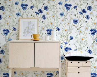 Blue Vintage Wallpaper, Wall Mural, Blue Flowers, Floral Wall Decor, Peel and Stick Wall Decoration, Spring Wallpaper, Art, Decal  - A143