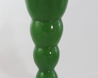 Handblown green aventurine glass vase