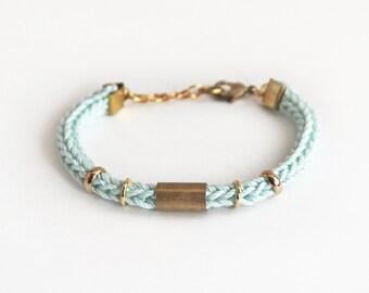 Mint bracelet with tube, knit bracelet, cord bracelet tube bracelet, stacking bracelet