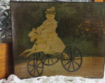 """Print on Canvas by Claude Monet Dtd 1872 Oil Painting of Jean Monet on his Horse Tricycle  Measures 4"""" by 4 3/4""""  //  Metropolitan Museum"""