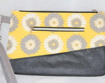 Carissa Clutch Yellow with Gray and White Flowers