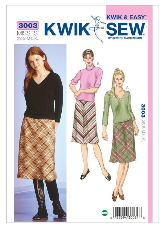 Kwik Sew 3003 Misses Bias Cut Skirts And Knit Tops Sewing Pattern