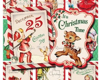 INSTANT DOWNLOAD, Printable Christmas Tags, Digital Collage Sheet, Retro Vintage Holiday Labels, atc, aceo