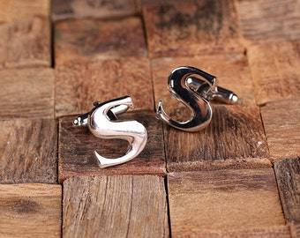 """Initial """"S"""" Personalized Men's Classic Cuff Link with Wood Box Monogrammed Engraved Groomsmen, Best Man, Father's Day Gift"""