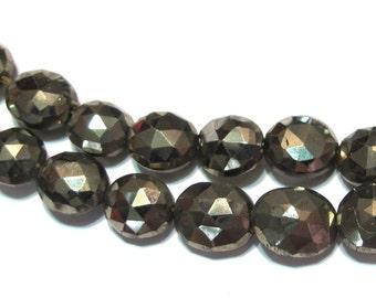 Pyrite faceted Ovals PREMIUM quality half strand