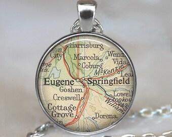 Eugene, Oregon map necklace, Eugene map pendant Springfield map necklace map jewelry jewellery keychain key chain key ring key fob