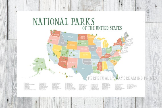 Americas National Parks Map Printable Explorer