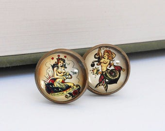Tattoo Mermaid Nautical Cufflinks Cuff Links Vintage Style Bronze Beach Wedding Groom Groomsmen