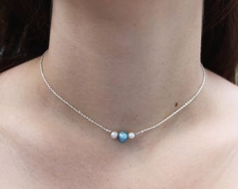 Triple Pearl White and Blue Necklace