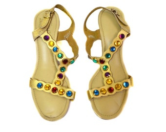 Vintage Beacon Gold/Multi-Colored Rhinestone Sandals