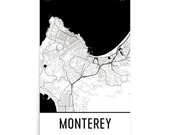 Monterey Map, Monterey CA Art, Monterey Print, Monterey California Poster, Monterey Wall Art, Map of Monterey CA, Monterey Gift, Decor
