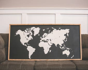 Large World Map - Wood Sign