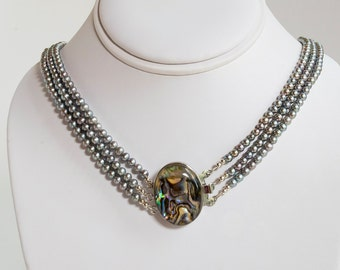 """20"""" Long Triple-strand 4mm pearl necklace with Abalone clasp"""