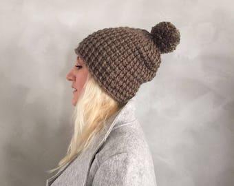 Chunky Hat - Chunky Pompom Hat - Pom pom Hat - Taupe - Brown - Knit Hat - Chunky Beanie - Pom pom Beanie - Gift for Her - Christmas Gift