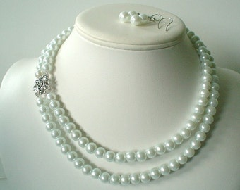 Two Strand White Pearl with Rhinestone Square Pendant Beaded Necklace and Earring Set    Great Brides or Bridesmaid Gifts