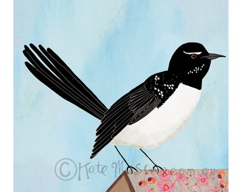 Willie Wagtail ART PRINT Australian Birds