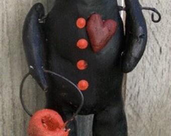 Nostalgic Folk Art Paper Doll Folk Black Cat Trick or Treater