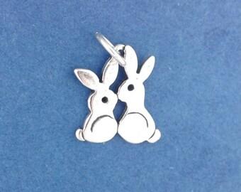 KISSING BUNNIES Charm .925 Sterling Silver Love Bunnies, Rabbits Pendant - lp1324c