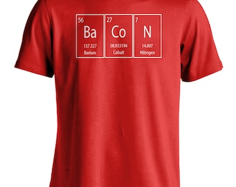 Men's Bacon T-Shirt Funny Science Tee Periodic Table Of Elements Graphic Shirt