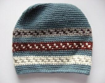 boy's slate blue wool ski hat size 8-12
